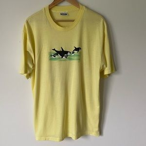 Vintage Single Stitched Whales graphic tee shirt